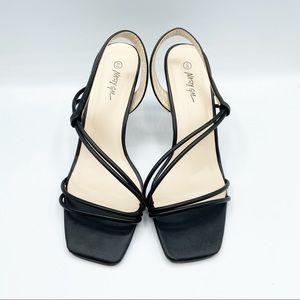 Nasty Gal Square Toe Y2K Strap Heels Black Leather